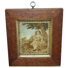 Early Victorian 19th Century Needlework Panel with Beaded Border