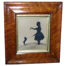 Rare Mid-19th Century Victorian Hand-Cut Silhouette of a Girl Playing with Her Dog