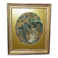 "Georgian Silkwork Depiction of ""The Sorrows of Lady Alice"""
