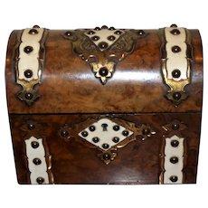 Victorian Mid-19th Century Burled Walnut Domed-Top Tea Caddy