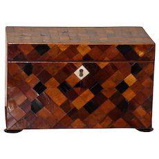 Stunning, Rare Mid-19th Century Tunbridge Wells Marquetry Tea Caddy
