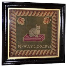 Rare Early 19th Century Woolwork  Sampler of a Seated Cat on a Stool Dated 1831