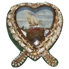 Heart-Shaped Edwardian Shell-Work Diorama