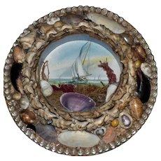 Round Edwardian Shell-Work Souvenir Diorama