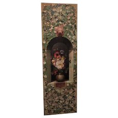 Large and Impressive Victorian Mid-19th Century Oil Painting of a Vase of Flowers in a Vine-Covered Wall