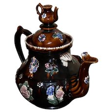 Bargeware Teapot with Teapot Finial Dated 1884