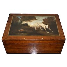 Victorian Oak 19 th c Box Made by Harrods for Silver Cutlery with Painting of Dog in Landscape