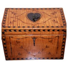 George III 18th Century Satinwood Marquetry Inlaid Tea Caddy Circa 1780