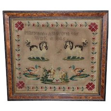 Early Victorian Woolwork Sampler with King Charles Spaniel Dogs
