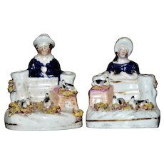 Pair of Victorian Staffordshire Quill Holders with Children and Rabbits, Circa 1860
