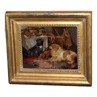 19th Century Victorian Oil Painting of Dogs at Rest, Attrib. to George Armfield