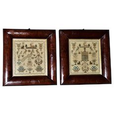 Superb Pair of Early 19th Century Silkwork Samplers in Matching Mahogany Frames