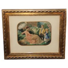 Figures in a Garden, a 19th Century Watercolor Attrib. To French Artist Alexandre Cabanel