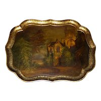 Mid-19th Century Early Victorian Shaped Papier Mache Tray Depicting Buckland Abbey
