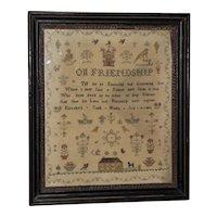 "Early 19th Century Silkwork Sampler, ""On Friendship,"" Dated 1812"