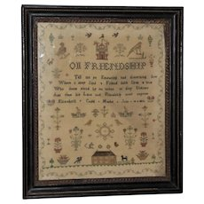 "Early 19th Century Silkwork Sampler, ""On Friendship,"" Dated 1812"