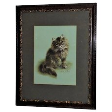 Charming Edwardian Watercolor of a Kitten