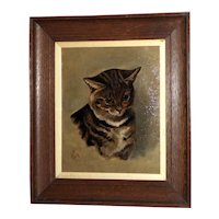 Late 19th Century Portrait of a Tabby Cat