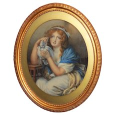 Girl with Doves, by W.R. Waters (after Jean Baptiste Greuve)
