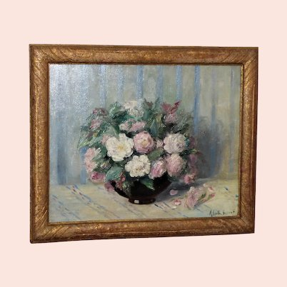 French Still Life of White and Pink Roses in a Bowl, by L.A. Lauth-Bossert