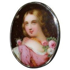Victorian 19th Century Miniature Hand-Painted Porcelain Plaque
