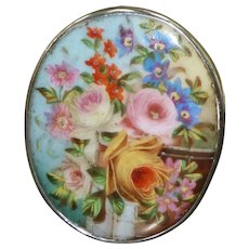 Victorian 19th Century Miniature Hand-Painted Porcelain Plaque