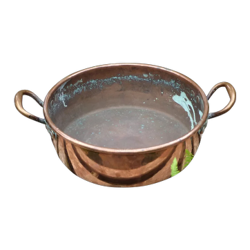 Victorian 19th Century Heavy 2-Handled Copper Cooking Pan