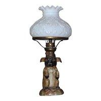 19th Century Nursery Oil Lamp Modeled as a Pug Dog ( on reserve for Joe)