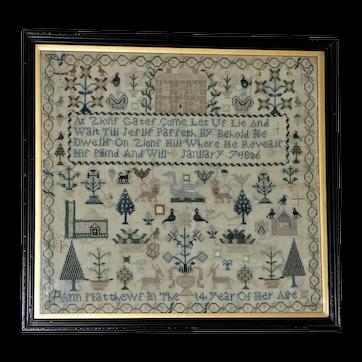George IV Early 19th Century Silkwork Sampler