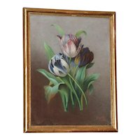Pastel Painting of Three Tulips, by Angele Dubos