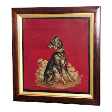19th Century Mid-Victorian Woolwork of a Dog