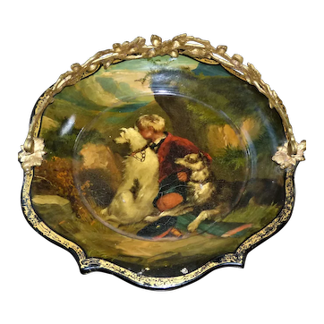 Mid-19th Century Victorian Papier Mache Handled Dish Depicting a Boy and His Two Scottish Deerhounds