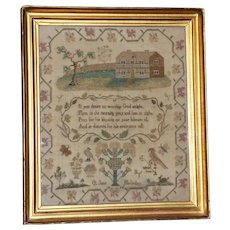 Georgian Early 19th Century Silkwork Sampler Dated 1814