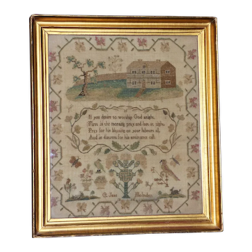 Georgian Early 19th Century Silkwork Sampler Dated 1814