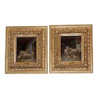 Pair of Paintings of Sheep in Barns in Fabulous Original Frames
