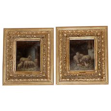 Pair of Paintings of Sheep in Barns in Fabulous Original Frames
