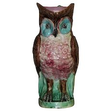 19th Century Victorian Majolica Owl Jug