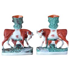 Pair of 19th Century Victorian Staffordshire Cow with Calf Spill Vases