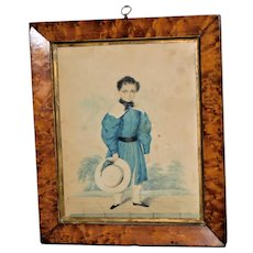 19th Century Georgian Watercolor Portrait of a Boy in a Blue Costume