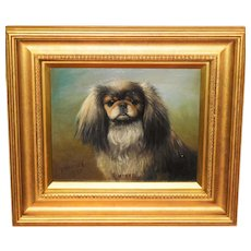 Portrait of a Pekingese Dog by Henry Crowther