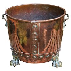 19th Century Victorian Copper and Brass Coal Bucket