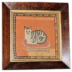 Mid-19th Century Victorian Woolwork Portrait of a Striped Cat