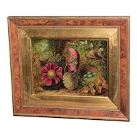 19th Century Victorian Still Life of Flowers and a Bird's Nest on a Mossy  Embankment