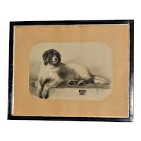 Victorian 19th Century Charcoal Drawing of a Newfoundland Dog after Landseer