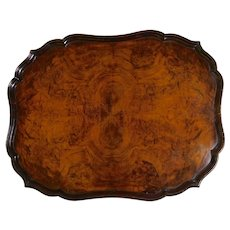 Edwardian Burr Walnut Tray with a Pie-Crust Border