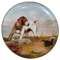 Large and Impressive 19th Century Victorian Pottery Wall Plaque Depicting Hunting Dog in Landscape