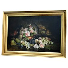 Still Life of Fruit and Flowers by C.L. Lockton