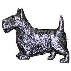 Vintage Hallmarked Silver Brooch of a Scottie Dog