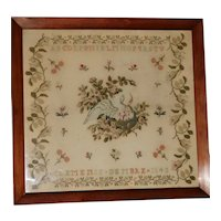 Victorian Woolwork Sampler with Swan and Her Cygnets Dated 1843