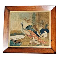 Very Early 19th Century Woolwork of a Peacock with Other Birds in a Garden